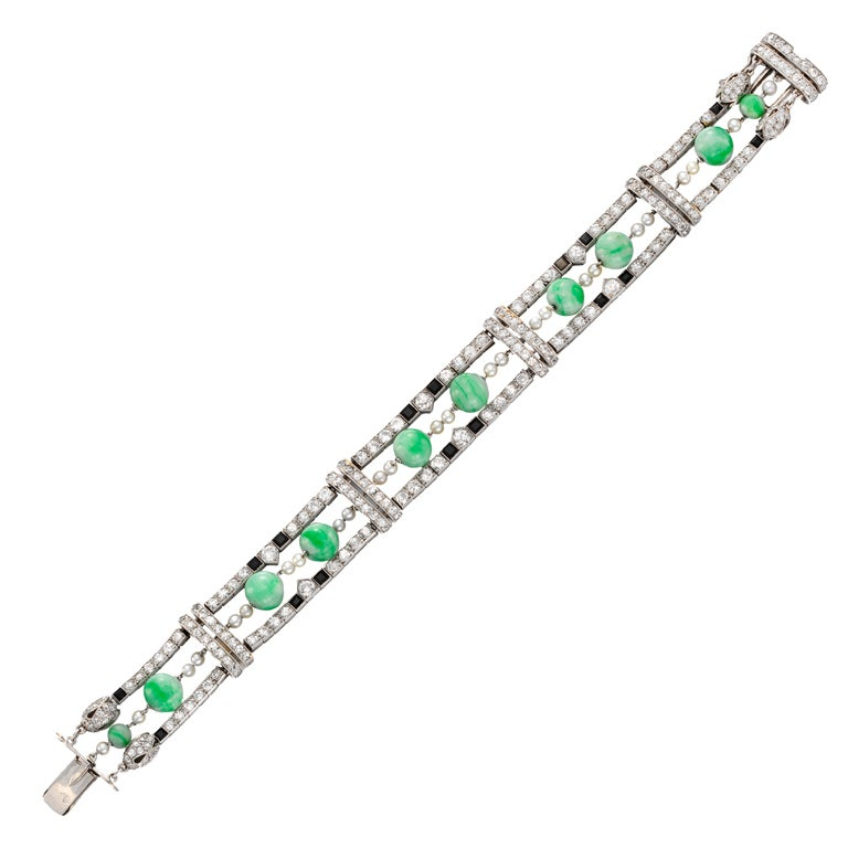 CARTIER Art Deco Diamond Jade Bracelet at 1stdibs