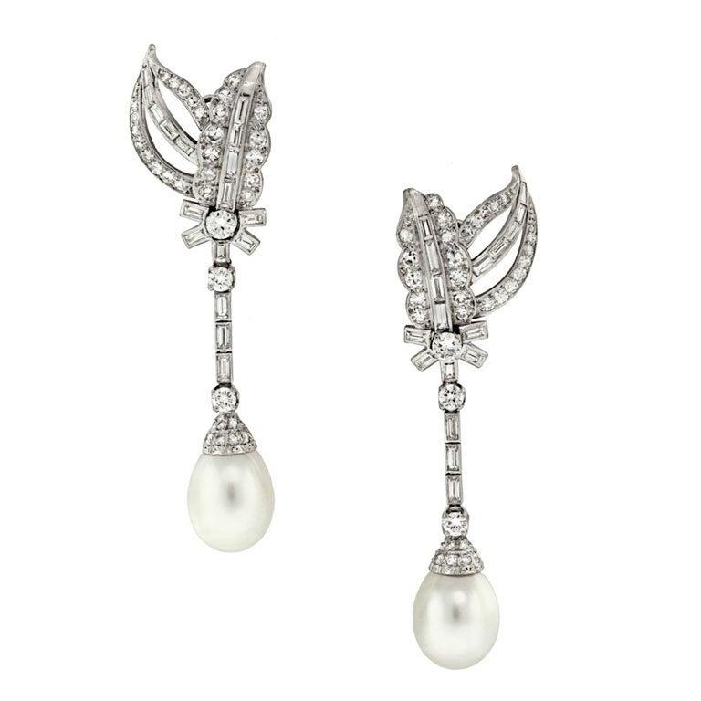 Pearl Diamond Dangle Earrings at 1stdibs