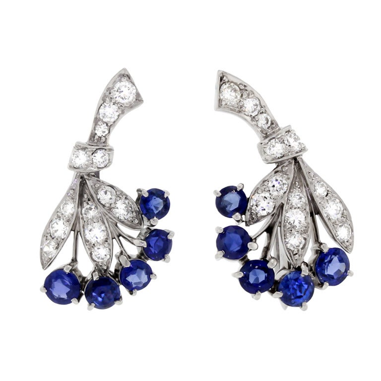 TIFFANY and CO Sapphire and Diamond Earrings at 1stdibs