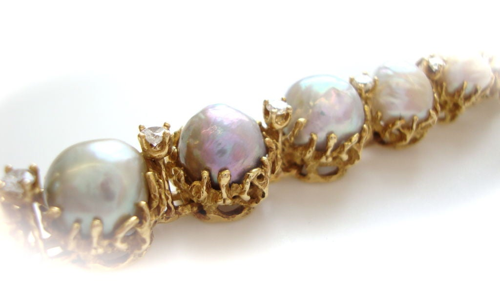 ARTHUR KING 18k Pearl And Diamond Bracelet Circa 1970 At