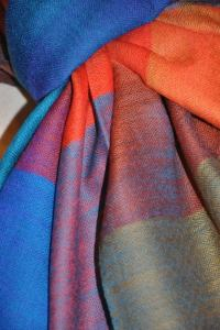 Huge Multi-Color Wool Challis and Cashmere Scarf at 1stdibs