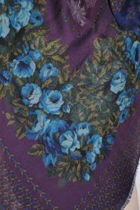 Wool Challis Floral-Print Large Scarf For Sale at 1stdibs