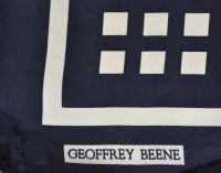 Geoffrey Beene Abstract navy and white scarf For Sale at