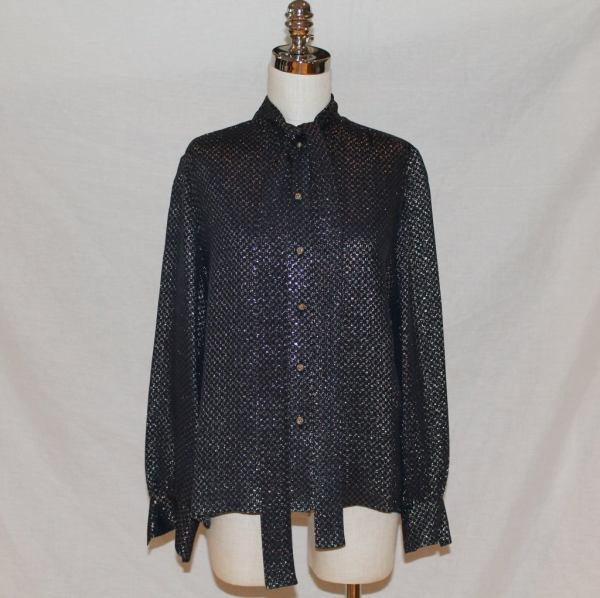 "Chanel Vintage Navy And Gold Lame Blouse With ""cc"" Print"