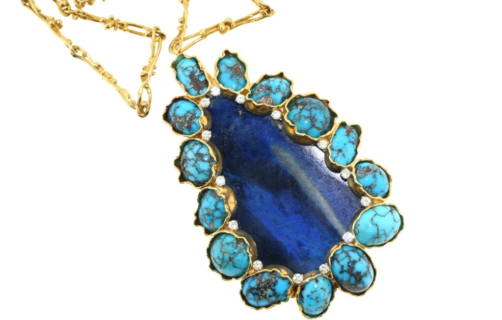 GEORGES WEIL Artistic Gold Lapis And Turquoise Necklace