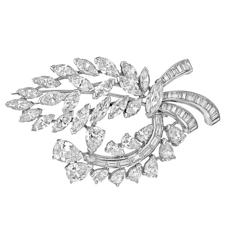 Elegant White Gold and Diamond Spray Brooch at 1stdibs