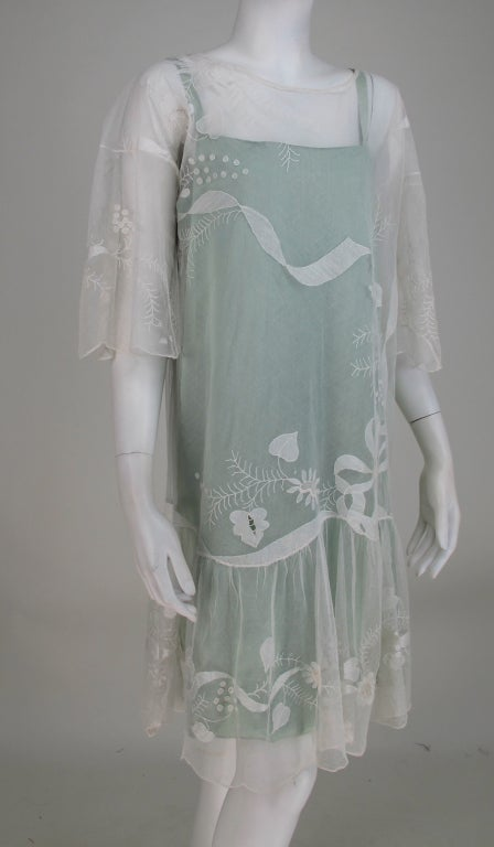 1920s Gatsby era embroidered tulle teawedding dress For