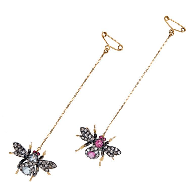 Whimsical Estate Bejewelled Bug Pins at 1stdibs