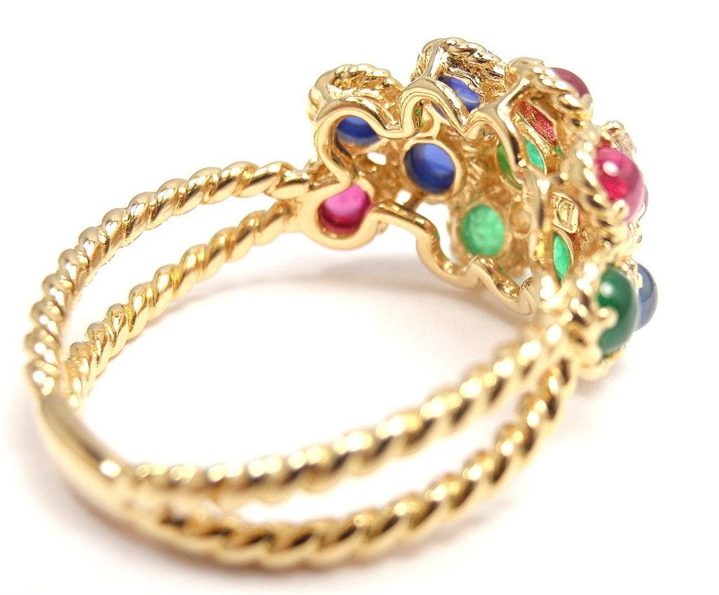 CHRISTIAN DIOR Diamond Emerald Ruby Sapphire Flower Gold RIng at 1stDibs
