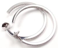 CARTIER Diamond Large Hoop White Gold Earrings at 1stdibs