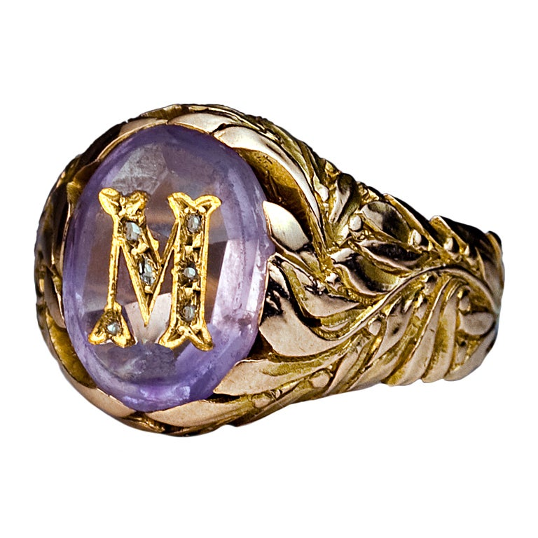 monogrammed gold ring