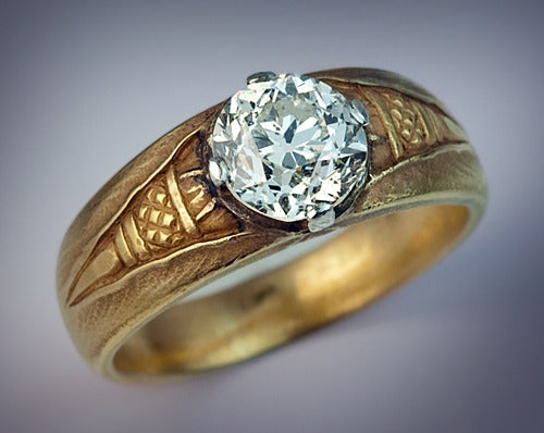 Antique Russian Solitaire Diamond Gold Mens Ring For Sale
