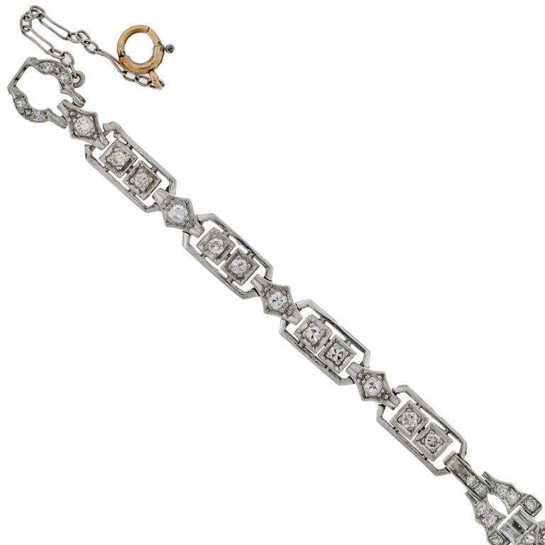 HAMILTON Lady's Art Deco Platinum and Diamond Bracelet