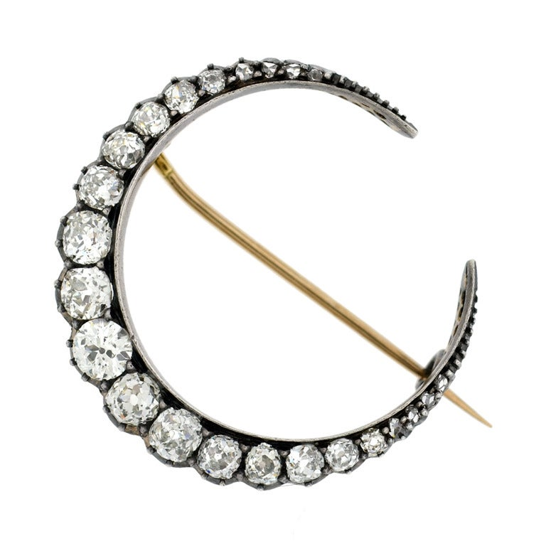 Victorian Diamond Encrusted Crescent Pin 3.5ctw at 1stdibs