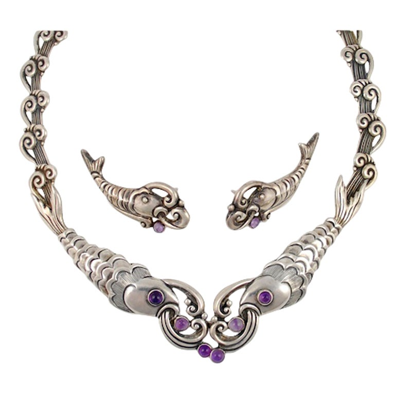 MARGOT DE TAXCO Silver And Amethyst Demi Parure At 1stdibs