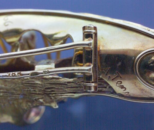 Aurelio Teno Diamond Sapphire Gold Sculptural Brooch