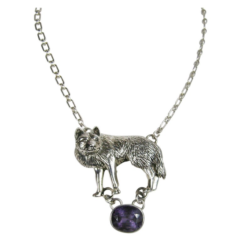 Carol Felley Sterlng Silver Wolf Amethyst Necklace at 1stdibs