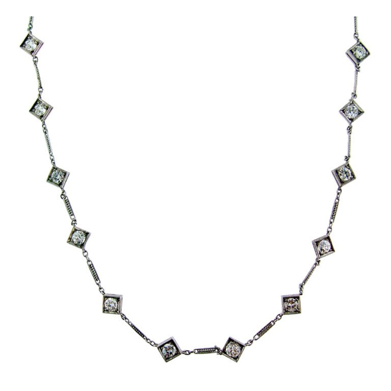 34 Inch Platinum and Diamond Long Chain at 1stdibs