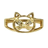 Whimsical Diamond and Gold Cat Ring at 1stdibs