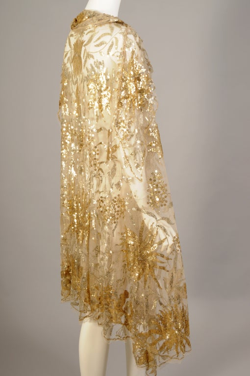 1920s French Nude Tulle Sequin Cape at 1stdibs