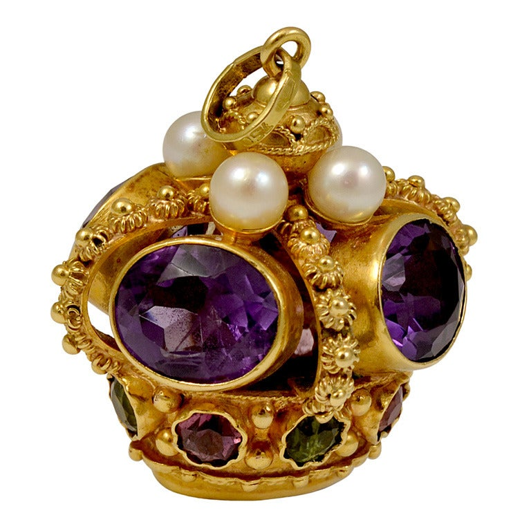 Multi Colored Gemstone Gold Crown Charm At 1stdibs