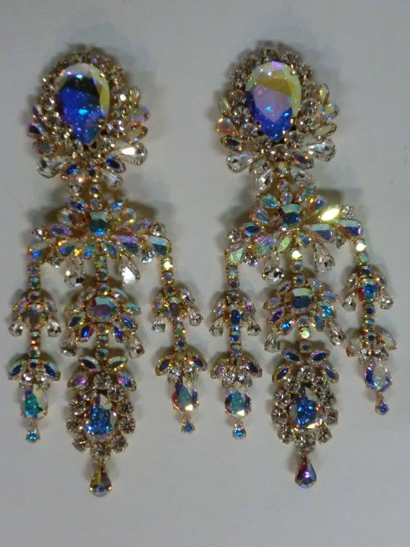 Outrageous 80s Aurora Borealis Chandelier Rhinestone Earrings 3