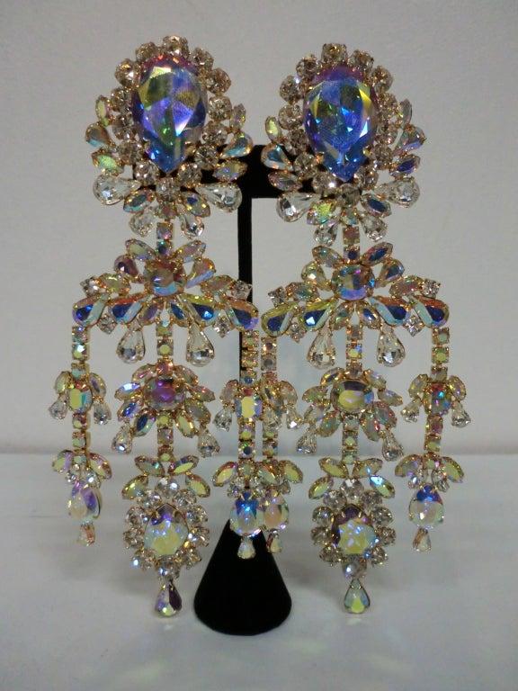 Outrageous 80s Aurora Borealis Chandelier Rhinestone Earrings 2