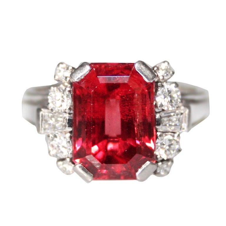 Gubelin Red Spinel Diamond Ring At 1stdibs