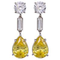 Faux Yellow Canary Diamond Drop Earrings at 1stdibs