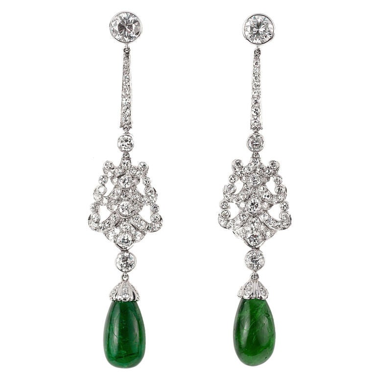 Important 1920's Emerald and Diamond Chandelier Earrings