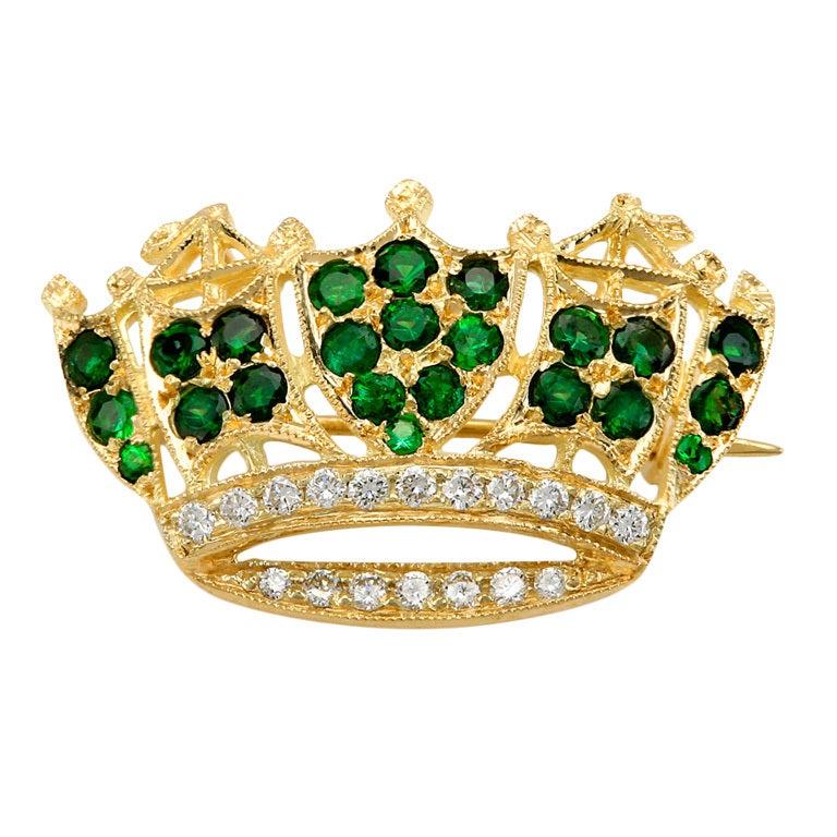 Beautiful Tourmaline Diamond Gold Crown Pin Brooch At 1stdibs