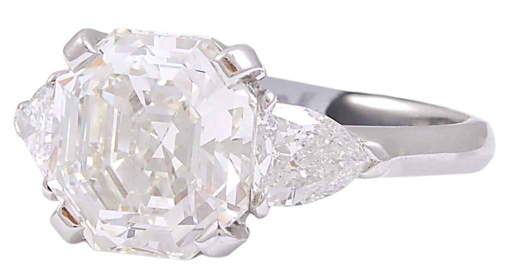Octagonal Cut Cornered Diamond Engagement Ring At 1stdibs