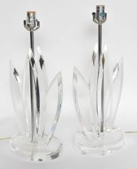 """Pair of Mid Century Lucite """"Leaf"""" Form Table Lamps at 1stdibs"""