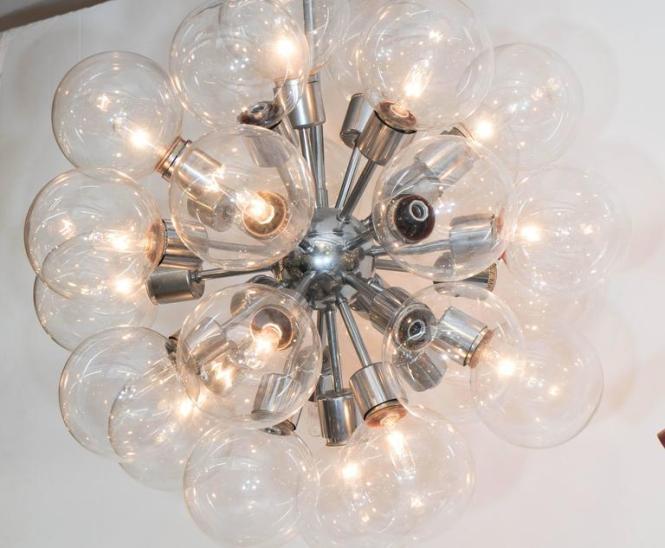 1950s Sputnik Glass Globe Chandelier In Chrome By Lightolier 2