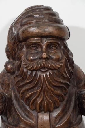 Early 20th Century Carved Santa Claus Figure in Solid Wood ...
