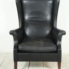Black Leather Wingback Chair Cover Hire Sunderland Italian High At 1stdibs