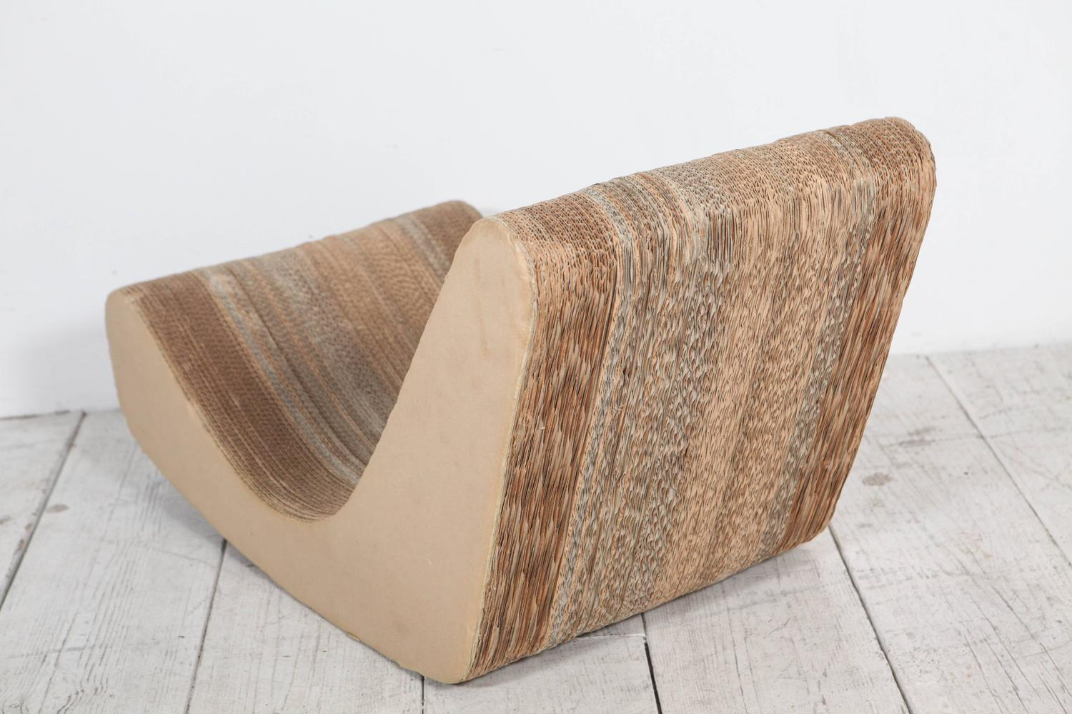 frank gehry cardboard chair slip cover corrugated low rocker in the style of