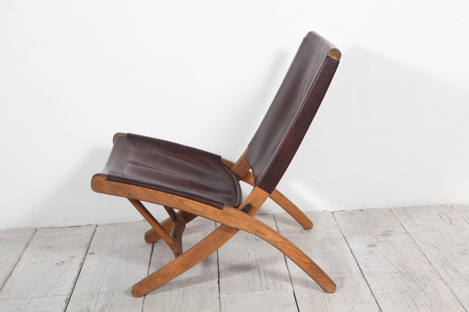 folding chair leather ikea kid chairs italian and wood at 1stdibs