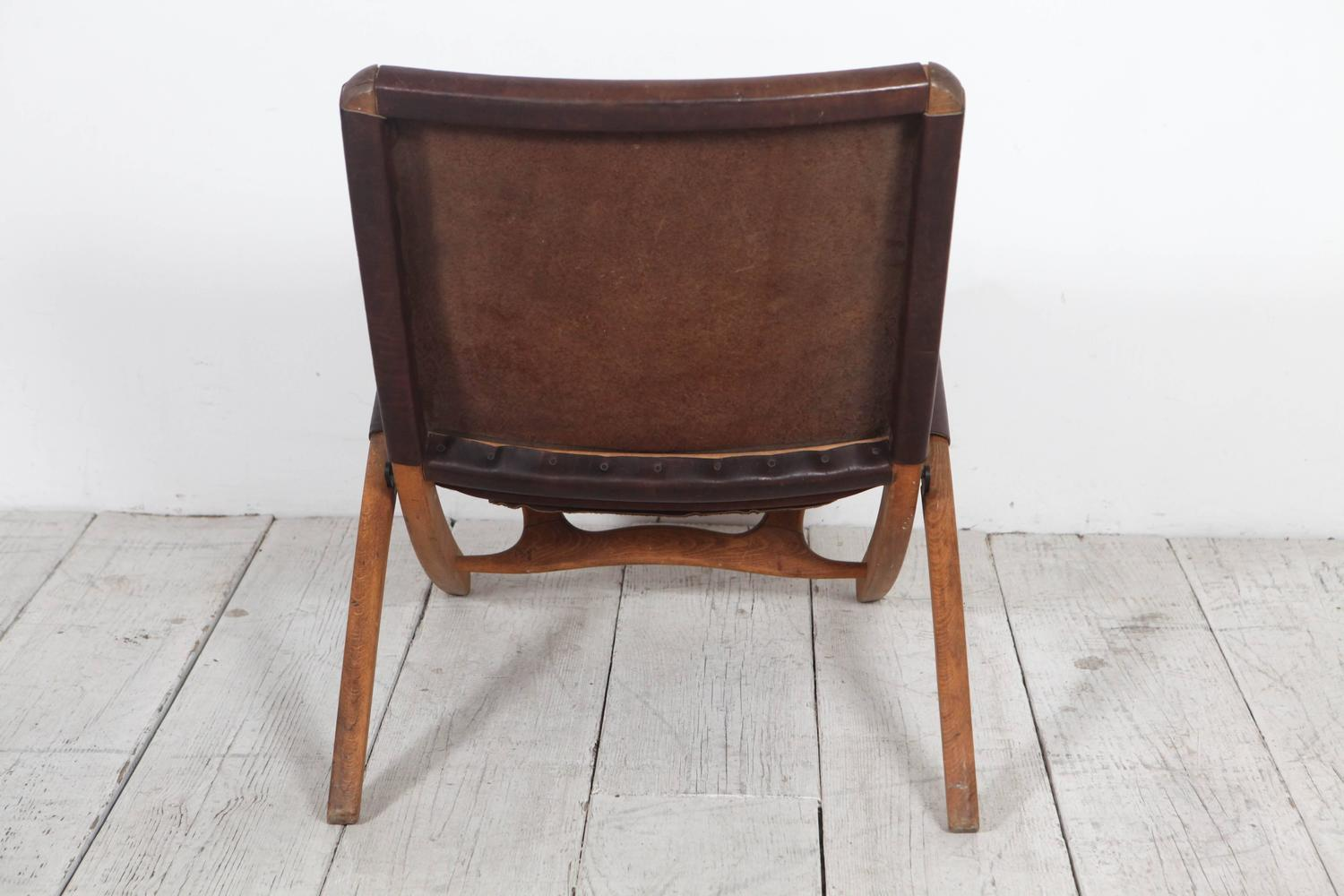 folding chair leather neutral posture right italian and wood at 1stdibs