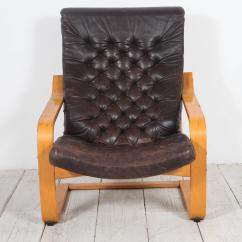Black Leather Chair Ikea Kid Pair Of Original Poem Chairs In Tufted By