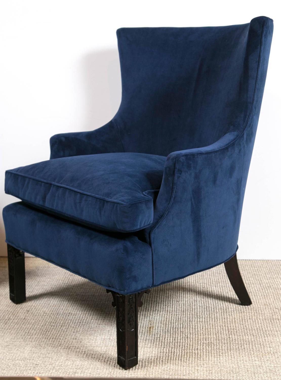 blue velvet armchair nz mongolian faux fur chair cushion pair of club chairs at 1stdibs