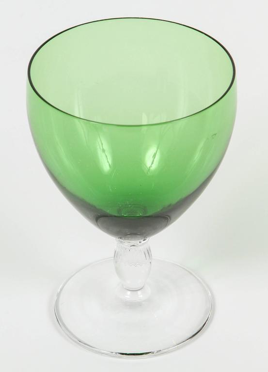 Vintage Green Crystal Wine Glasses At 1stdibs