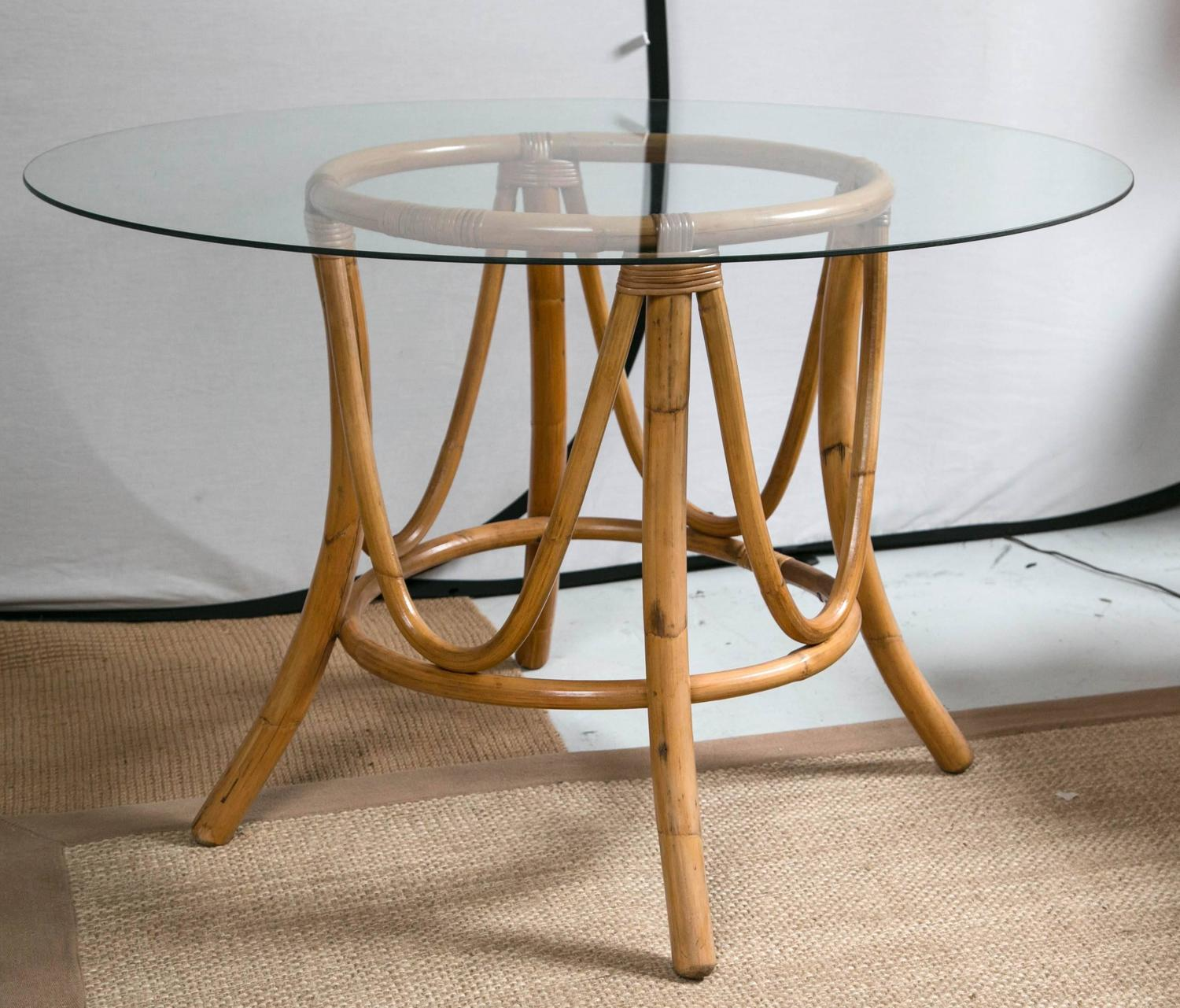 round bamboo chair used dental vintage rattan dining table and chairs at
