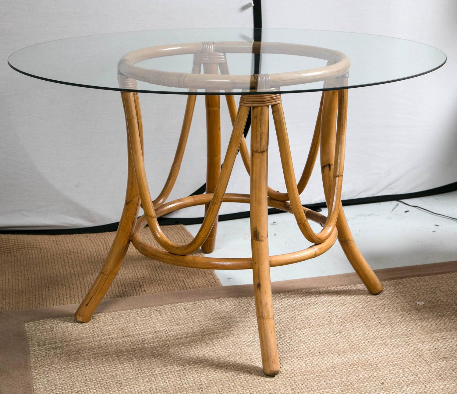 big bamboo circle chair desk fluffy vintage rattan round dining table and chairs at