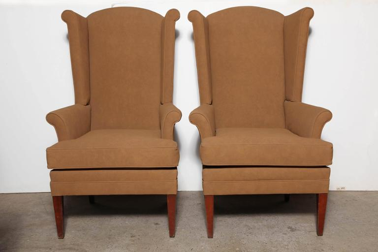 teal wingback chair patio table and chairs metal pair of tall, narrow mid century camel highback at 1stdibs