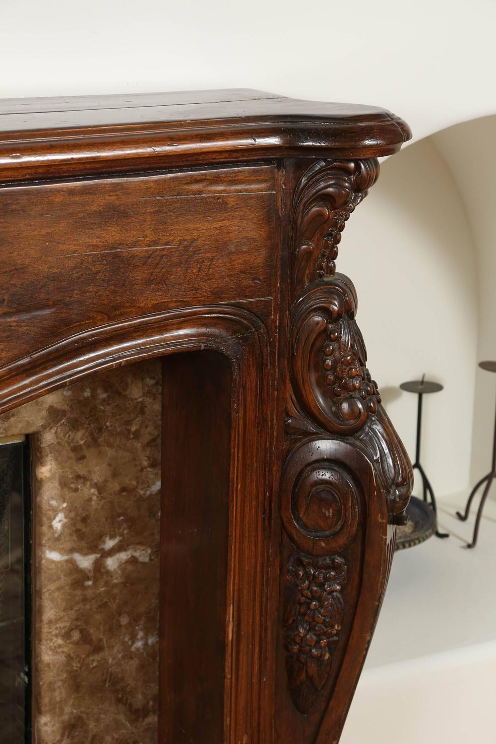 Louis XVI HandCarved Wooden Fireplace Mantel at 1stdibs