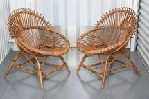 Two Pairs Of Vintage French Bamboo And Rattan Chairs