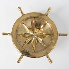 Revolving Chair Without Wheels Gold Spandex Covers Small Brass Nautical Themed Ash Tray With Rotating Ships
