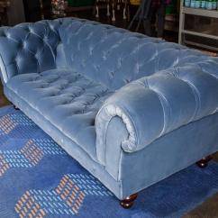 Blue Velvet Chesterfield Sofa Reno Modular Leather Sectional Bespoke By Pitfield London