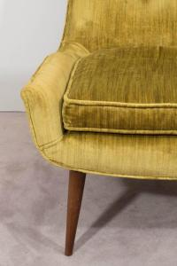 Pair of Midcentury Chartreuse Slipper Chairs on Tapered ...